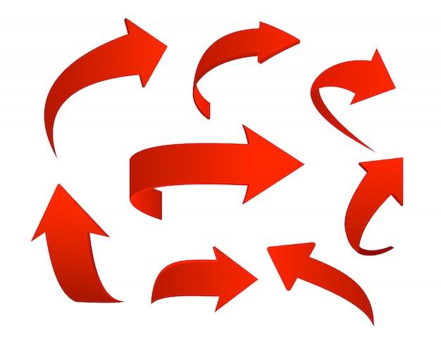 Conjunto de ilustración de iconos de flecha roja sobre fondo blanco Vector Premium