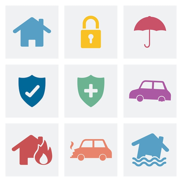 Conjunto de ilustración de iconos de seguridad para el hogar vector gratuito