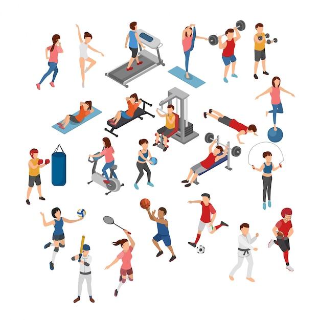 Conjunto de ilustración isométrica de diferentes deportes Vector Premium