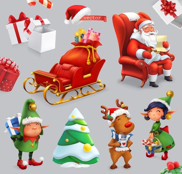 Conjunto de ilustración de navidad. papá noel, trineo, regalos, ciervos, duendes, árbol de navidad. Vector Premium