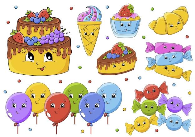 Conjunto de ilustración con personajes de dibujos animados lindos. tema de feliz cumpleaños. dibujado a mano. Vector Premium