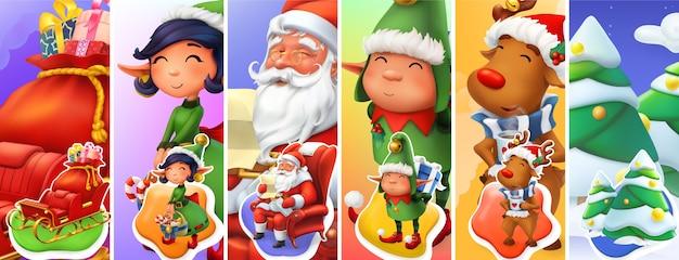 Conjunto de ilustración de personajes navideños Vector Premium