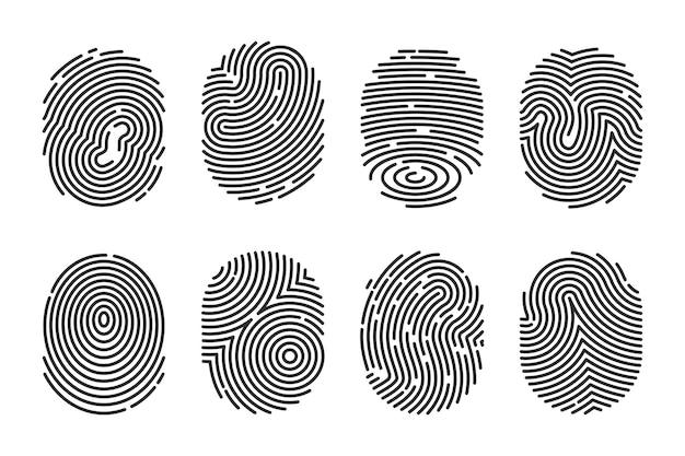 Conjunto de ilustración plana de huellas dactilares detalladas negras. escáner electrónico de la policía de la huella digital para la recopilación de vectores aislados de datos delictivos. concepto de identidad y tecnología de dedo vector gratuito