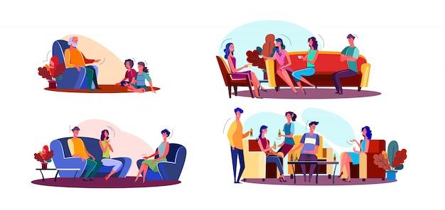 Conjunto de ilustración de reunión amigable vector gratuito
