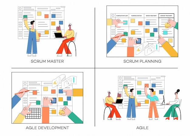 Conjunto de ilustración de la técnica de planificación scrum del trabajo en equipo en el desarrollo de software Vector Premium