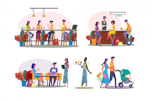 Conjunto de ilustración de tiempo libre juntos vector gratuito