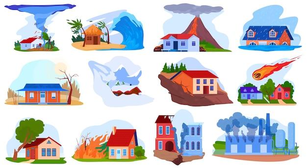 Conjunto de ilustración de vector de accidente de desastre natural, tsunami de tornado de tormenta natural plana de dibujos animados, volcán, fuego destruir Vector Premium