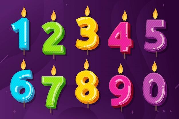Conjunto de ilustración de vector de cumpleaños aniversario números vela Vector Premium