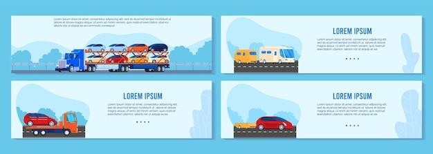 Conjunto de ilustración de vector de remolque de camión de coche, colección de banner de transporte plano de dibujos animados con furgoneta de transporte diferente Vector Premium