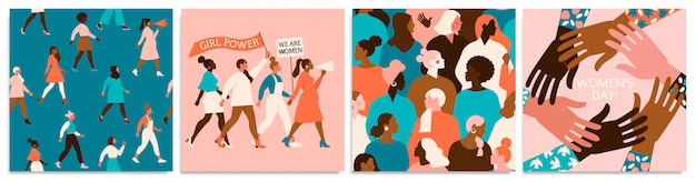 Conjunto de ilustración vectorial. 8 de marzo, día internacional de la mujer. Vector Premium