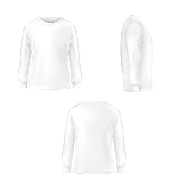 Conjunto de ilustración vectorial de una camiseta blanca con mangas largas. vector gratuito
