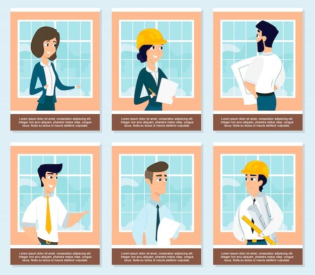 Conjunto de ilustraciones de arquitectos en obra. vector gratuito