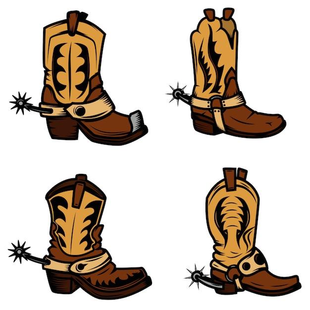 Conjunto de las ilustraciones de botas vaqueras. elementos para logotipo, etiqueta, emblema, signo, insignia. ilustración Vector Premium