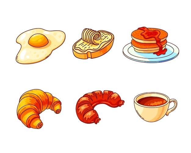 Conjunto de ilustraciones de color dibujado a mano desayuno Vector Premium