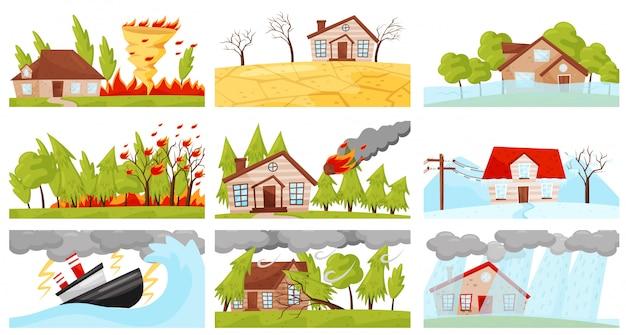 Conjunto de ilustraciones de desastres naturales. remolino de fuego, tormenta eléctrica, incendio forestal, caída de meteoritos Vector Premium
