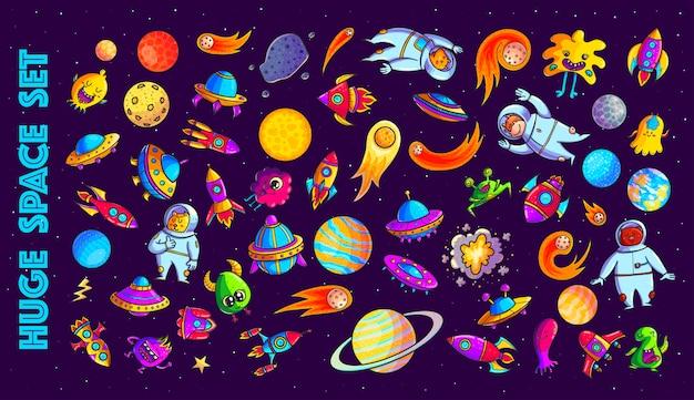 Conjunto de ilustraciones de dibujos animados dibujados a mano de espacio Vector Premium