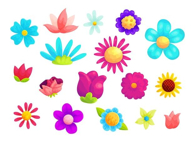 Conjunto de ilustraciones de dibujos animados de flores de verano florecientes. Vector Premium