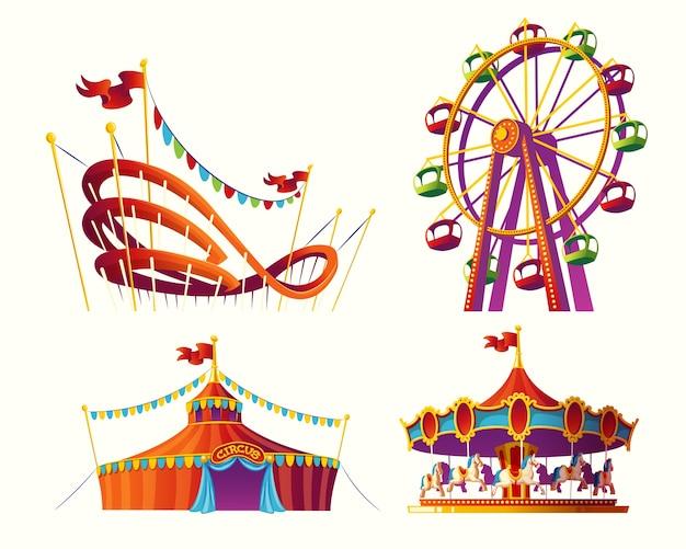 Conjunto de ilustraciones de dibujos animados de vectores para un parque de atracciones vector gratuito