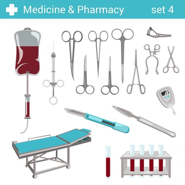 Conjunto de ilustraciones de equipo de hospital farmacéutico médico de estilo plano. Vector Premium