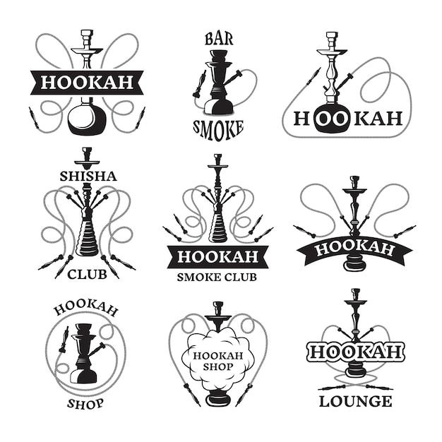 Conjunto de ilustraciones y etiquetas de diferentes cachimbas. Vector Premium