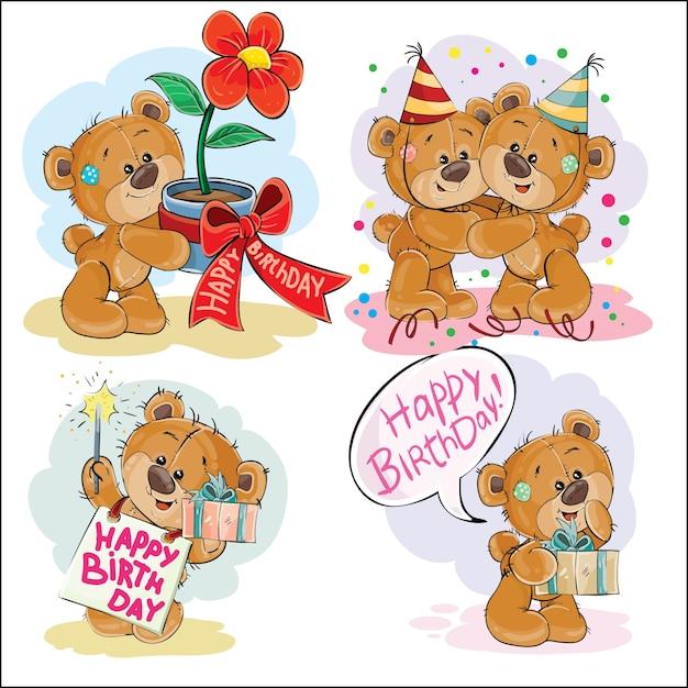 Conjunto de ilustraciones de imágenes prediseñadas vectoriales de oso de peluche marrón le desea un feliz cumpleaños. vector gratuito