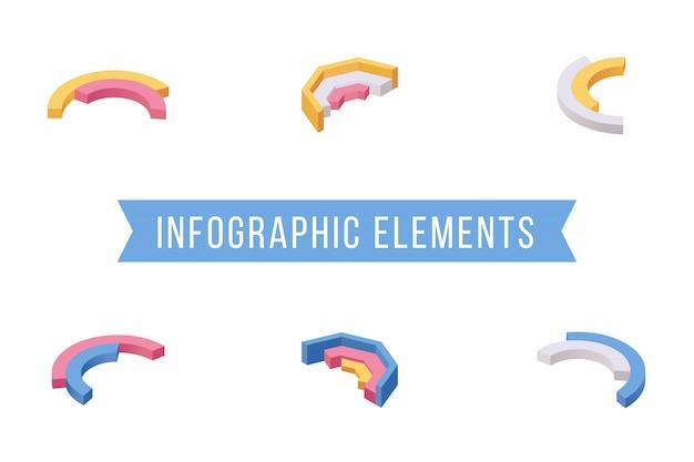 Conjunto de ilustraciones isométricas de elementos de infografía Vector Premium