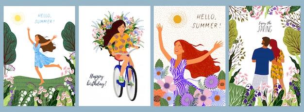 Conjunto de ilustraciones de una mujer, en una bicicleta con flores, joven pareja en un paisaje natural Vector Premium
