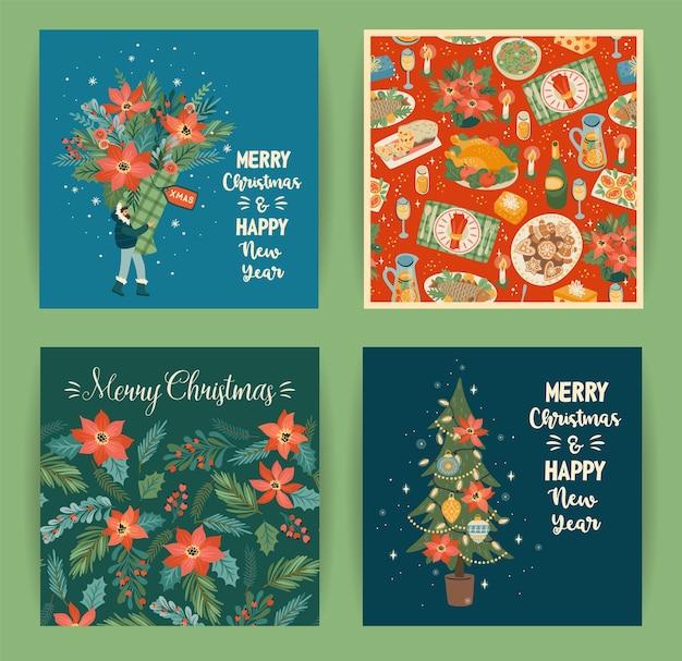 Conjunto de ilustraciones de navidad y feliz año nuevo en estilo de dibujos animados de moda Vector Premium