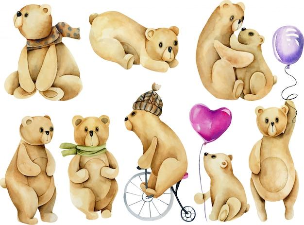 Conjunto de ilustraciones de osos lindos acuarela Vector Premium