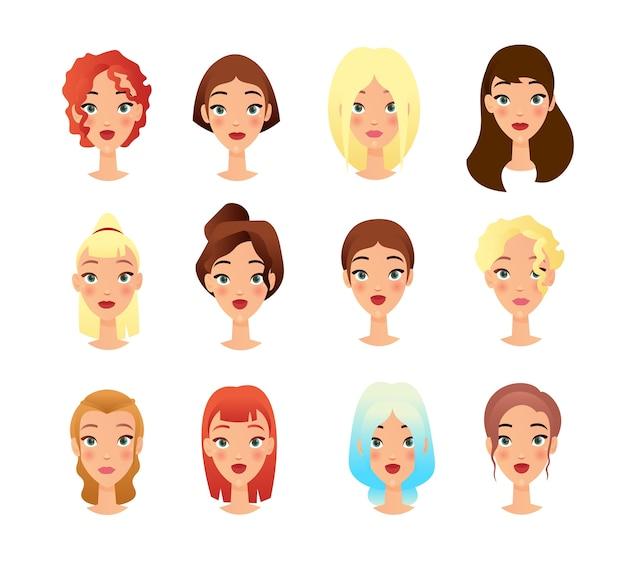 Conjunto de ilustraciones planas de caras de chicas jóvenes. paquete de personajes femeninos de dibujos animados. concepto de cambio de apariencia de moda. retratos de personas, colección de cliparts sobre fondo blanco dibujo aislado Vector Premium