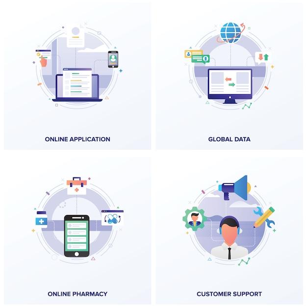 Conjunto de ilustraciones planas de negocios en línea Vector Premium