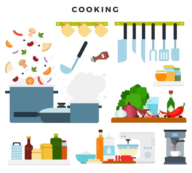 Conjunto de ilustraciones, que muestra el proceso de cocción. ingredientes y utensilios de cocina. Vector Premium