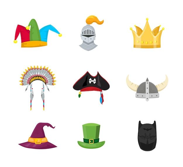 Conjunto de ilustraciones de sombreros de mascarada Vector Premium