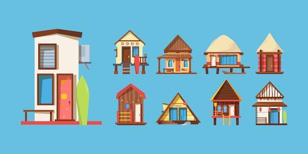 Conjunto de ilustraciones de vector plano de casas de playa de madera Vector Premium