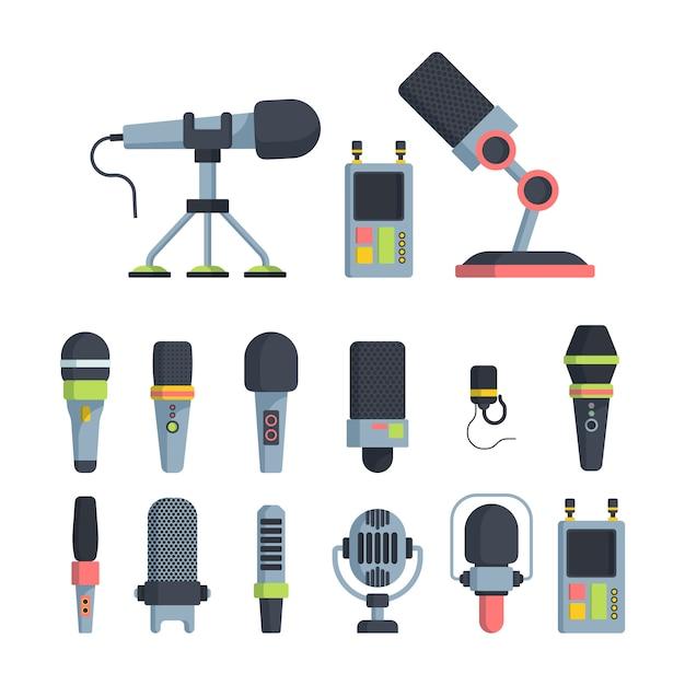 Conjunto de ilustraciones de vector plano de micrófonos de música y televisión Vector Premium