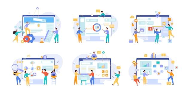 Conjunto de ilustraciones de vectores de análisis de negocios y rendimiento del sitio web Vector Premium