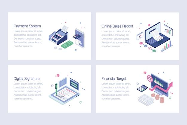 Conjunto de ilustraciones vectoriales de banca en línea Vector Premium