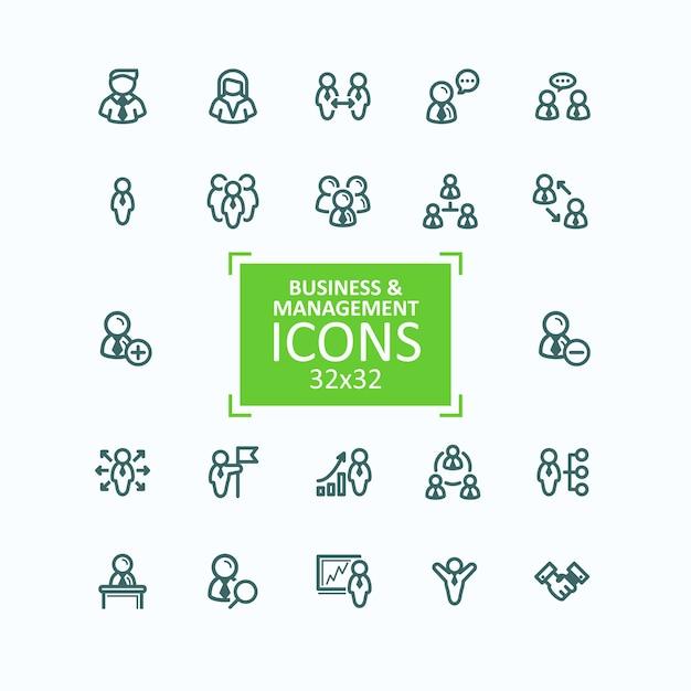 Conjunto de ilustraciones vectoriales línea fina iconos, colección de iconos de personas de negocios, gestión de personal vector gratuito