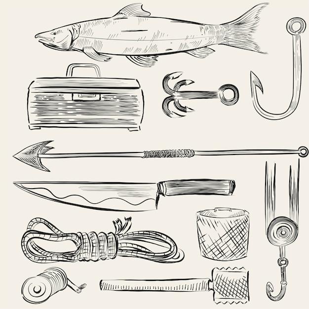 Conjunto ilustrado de equipos de pesca vector gratuito