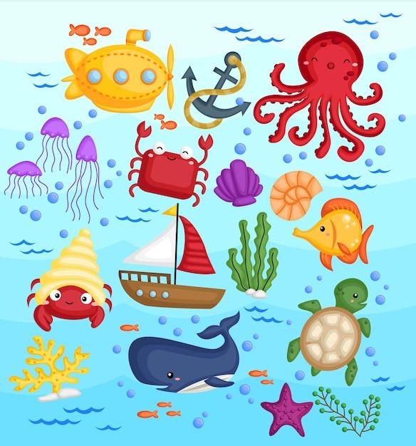 Conjunto de imágenes de animales marinos Vector Premium