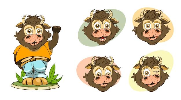 Conjunto de imágenes de dibujos animados para niños toros con diferentes expresiones faciales y muy divertidas. Vector Premium