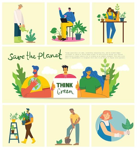 Conjunto de imágenes del medio ambiente de ahorro ecológico. personas que cuidan del collage del planeta. cero desperdicio, piense en verde, salve el planeta, nuestro texto escrito a mano en casa en el moderno diseño plano Vector Premium