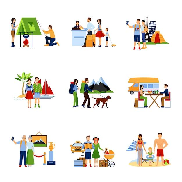 Conjunto de imágenes de opciones de vacaciones vector gratuito