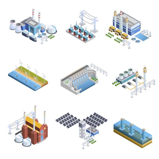 Conjunto de imágenes de plantas de generación eléctrica. vector gratuito