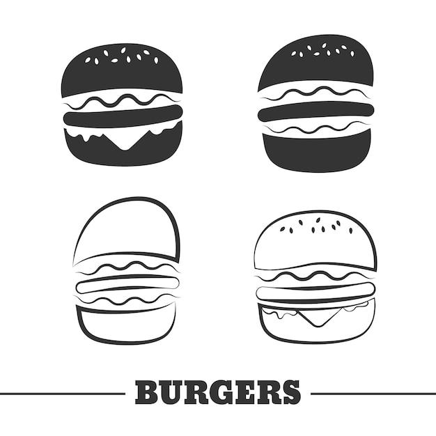 Conjunto de imágenes prediseñadas de vector de hamburguesa Vector Premium