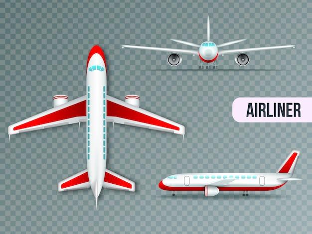 Conjunto de imágenes realistas de cuerpo ancho gran avión civil jet superior vista frontal y lateral vector gratuito