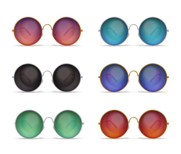 Conjunto de imágenes realistas de gafas de sol aisladas con seis modelos diferentes de coloridas gafas de sol redondas vector gratuito