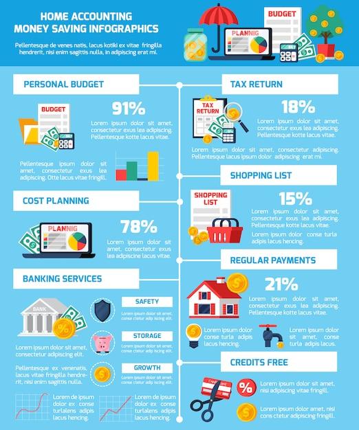 Conjunto de infografía de ahorro de dinero vector gratuito