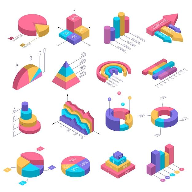 Conjunto de infografía diagramas isométricos vector gratuito