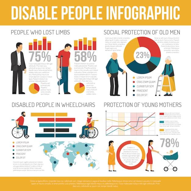 Conjunto de infografía personas con discapacidad vector gratuito